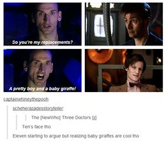 "Ten: ""Damn right I'm pretty..."" Eleven: ""So, I'm a baby giraffe now...giraffes are cool.."""