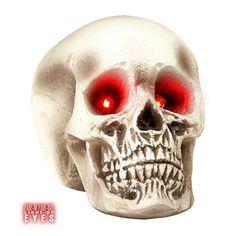 Deko Totenschädel Skelettkopf Partydeko mit leuchtenden Augen Skelett Kopf Dekofigur Totenkopf Schädel Halloween Dekoration Horror Grusel Party Dekoschädel Totenkopfschädel Halloweendeko