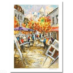 """""""Artistic Plaza"""" is a LIMITED EDITION Serigraph by artist Michael Rozenvain, Roman Numerically Numbered and Hand Signed with Certificate of Authenticity  Measures Approx: 13.5"""" x 18.5"""" (with border), 11.5""""x 16.5"""" (image)."""