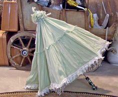 Vintage Parasol Pale Green Lacy Fluffy Parasol by CynthiasAttic