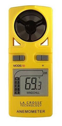 La Crosse Technology EA-3010U Handheld Travel Anemometer with backlight and included Neck lanyard by La Crosse Technology. $30.09. Also displays wind speed in Beaufort scale bar graph. Backlight with auto off feature; neck band for easy carrying. Displays current, maximum, average wind speeds. Reports wind chill and temperature in Fahrenheit or Celsius. Measures wind speed in mph, Km/h, m/s, or Knots. Amazon.com                For sailors, surfers, hang-gliders, or kite...