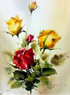 Watercolor Painting by M. Easy Watercolor, Watercolor Artists, Watercolor Landscape, Watercolour Painting, Watercolor Flowers, Landscape Paintings, Watercolors, Watercolor Portraits, Abstract Paintings