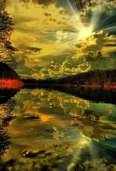 Reflection of the Sunbeams at Sunset