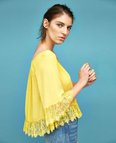 New clothes and accessories updated weekly at ZARA online. Stay in style with seasonal trends. Lace Tops, New Outfits, Off The Shoulder, Zara, Womens Fashion, Ladies Fashion, Boho, Yellow, Summer Time