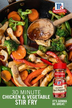 One of the best ways to get picky eaters to eat their veggies is with a tasty chicken and vegetable stir fry! Season the one pan dinner with soy sauce, ginger, and crushed red pepper, and the kids will be happy to eat every bite! Chicken Vegetable Stir Fry, Chicken And Vegetables, Veggies, Stir Fry Recipes, Cooking Recipes, Asian Recipes, Healthy Recipes, Chinese Recipes, Chinese Food