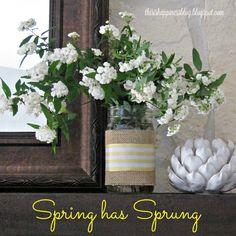 clippings from our landscape & quick diy burlap & ribbon mason jar vase
