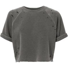 Short-Sleeved Cropped Sweatshirt ($150) ❤ liked on Polyvore featuring tops, hoodies, sweatshirts, black, cropped sweatshirt, distressed sweatshirt, short sleeve tops, crop top and roll top