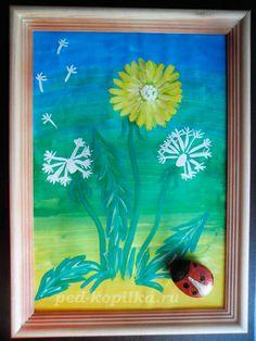 Роспись камней. Божья коровка на лужайке, рисуем одуванчик