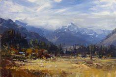"""Landscape, Mt. Cook"", oil on canvas, 50cm x 76cm, Ken Knight - Tryon Gallery"