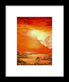 Framed Art Print, coastal,scene,sunset,sunrise,fairy,angel,sky,island,heavenly,sea,ocean,water,guardian,shore,beach,light,face,fantasy,surreal,orange,beautiful,image,fine,oil,painting,contemporary,scenic,modern,virtual,deviant,wall,art,awesome,cool,artistic,artwork,for,sale,home,office,decor,decoration,decorative,items,ideas