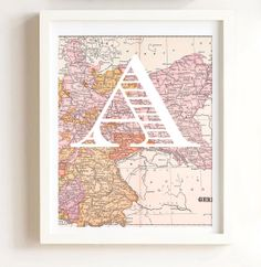 Personalized Initial Vintage Map Baby Girl Pink nursery children's room