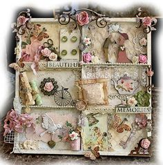 Beautiful Memories Altered Printer Tray Vintage Prima, Scrapmatts Chipboard, Tim Holtz, Butterfly, Flower