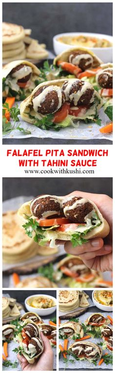 Falafel Pita Sandwich with Tahini Sauce is a classic protein-packed, filling and flavorful, Middle Eastern recipe that would be perfect for weekday or weekend lunch or dinner. Sandwiches For Lunch, Sandwich Recipes, Lunch Recipes, Dinner Recipes, Easy Family Meals, Family Recipes, Quick Easy Meals, Easy Homemade Recipes, Delicious Recipes