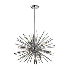 The ELK Lighting Starburst 12 Light Pendant Light is perfect for adding contemporary, stunning lighting design to your space. Its on-trend starburst. Sputnik Chandelier, Ceiling Pendant, Chandelier Lighting, Ceiling Lights, Chandeliers, Pendant Lamps, Modern Pendant Light, Elk Lighting, Modern