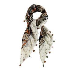 sciarpa in seta con disegno a fantasia e nappine ai bordi. Made in India. Dimensioni : Lunghezza 105, Larghezza 105.