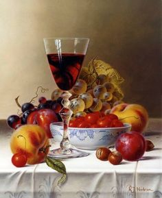 Натюрморт с красным вином и вишнями / Рой Ходриен - Roy Hodrien