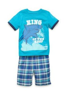 Boyz Wear by Nannette Blue 2-Piece King of the Reef Shark Tee and Shorts Set