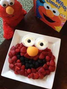 Elmo Fruit Tray - Strawberries, raspberries, blackberries, cantaloupe, blueberries and fruit dip Elmo Birthday, Boy Birthday Parties, Birthday Ideas, Sesame Street Party, Sesame Street Birthday Party Ideas, Sesame Street Cupcakes, Elmo Party, First Birthdays, Elmo Cake