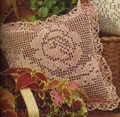 Free Crochet Filet Rose Pillow