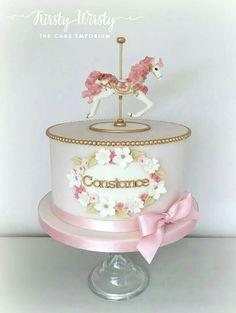 New Baby Girl Shower Cakes No Fondant Simple 32 Ideas Carousel Cake, Carousel Birthday, Carousel Party, Girl Shower Cake, Shower Cakes, Baby Shower, Fondant Cakes, Cupcake Cakes, Little Girl Cakes