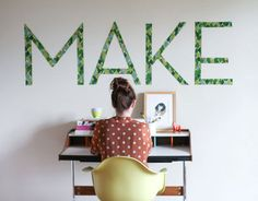 Create temporary word wall art from strips of fabric and cornstarch. | 26 Cheap And Easy Ways To Have The Best Dorm Room Ever
