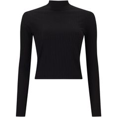 Miss Selfridge Turtle Neck Crop Top, Black ($21) ❤ liked on Polyvore featuring tops, crop top, polo neck top, long sleeve tops, cropped turtleneck and miss selfridge
