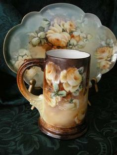 Signed YELLOW ROSES Limoges Tankard