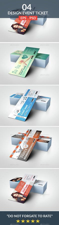 Event Tickets Mock-Up Event ticket, Mockup and Font logo - printable event tickets