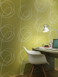 Yellow-green scribble wallpaper
