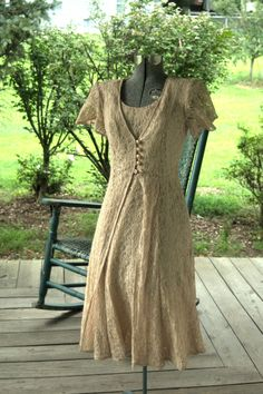 Vintage 1990's Retro 1940's Nude Slip Dress Made In the USA Size S