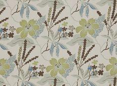 Avery Indian Teal - Mirabel : Designer Fabrics & Wallcoverings, Upholstery Fabrics