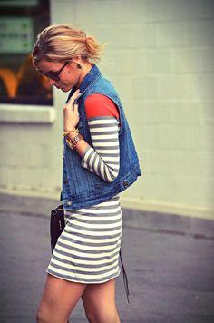 denim vest + striped dress :: easy spring/summer