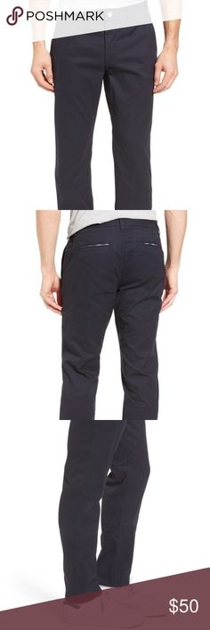 Bonobos Straight Leg 'Jet Blue' Washed Chinos Hubby's loss is your gain because he won't go to the tailor. I got these for him because he loves Bonobos pants for a nicer casual look to go out, but still be super comfortable. They are 100% cotton, 33/34 and never worn. Nordstrom Pants Chinos & Khakis