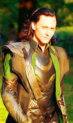 Tom Hiddleston on the set of The Avengers