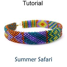 Summer Safari Flat Tubular Brick Stitch Beaded Bracelet Beading Jewelry Making Tutorial Pattern