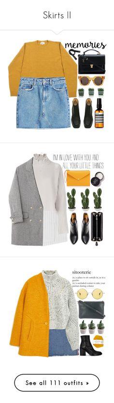 """Skirts II"" by evangeline-lily ❤ liked on Polyvore featuring tuktuk, Anine Bing, Marc Jacobs, Yves Saint Laurent, Acne Studios, Aesop, yellow, marcjacobs, saintlaurent and denimskirt"