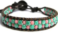 Easter Blue and Pink Beaded Leather Wrap Bracelet by WrapsForever, $17.00