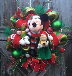 Christmas Wreath, Disney Christmas Wreath, Mickey & Minnie Christmas Wreaths, A Very Merry Magical Christmas, Mickey Mouse Christmas by BaBamWreaths on Etsy https://www.etsy.com/listing/255909910/christmas-wreath-disney-christmas-wreath