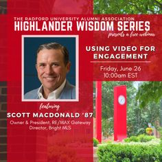 Join us as Scott MacDonald '87 discusses the evolution of video in the business world, and why it is more important today than ever before. Radford University, Evolution, Join, Wisdom, Events, Activities, Engagement, Business, Happenings