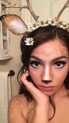 Deer/ Fawn/ Bambi Makeup~ really want to do this for Halloween Deer Costume Makeup, Costume Makeup Tutorial, Deer Costume Diy, Diy Halloween Costumes, Halloween Make Up, Costume Ideas, Halloween Ideas, Homemade Halloween, Halloween Fashion