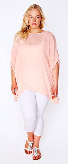 Plus Size Top With Crochet Back & Pom Pom Detail