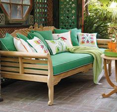 On a terrace overlooking the sea or on a shady veranda adjoining an orchard, our Pineapple Carved Teak Daybed invites relaxation.