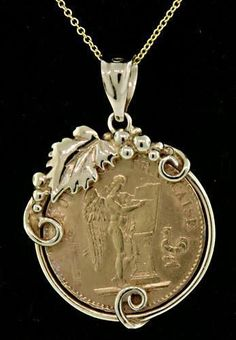 Art liquidated from various collections Coin Pendant Necklace, Pendant Jewelry, Gold Pendant, Coin Jewelry, Jewelry Art, Jewlery, Ancient Jewelry, Antique Jewelry, Gold Bullion Bars