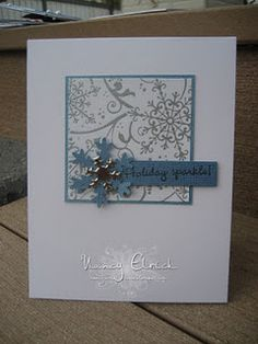 simple square. could heat emboss the snowflakes on the background. Looks like Baja Blue and silver