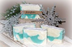 Natural soaps by Jessica Snowflake $5  This is the newest bar of soap available  It is a creamy, buttery soap and the scent is designed to mimic the feeling of peace and tranquility after a fresh snowfall. It is reminiscent of clean laundry or fresh cotton hung out on the line on a wintery day. It has notes of spring water, juniper berry and sandalwood ~ A must try!! smile emoticon Juniper Berry, Natural Soaps, Spring Water, Emoticon, Bar Soap, Snowflakes, Laundry, Notes, Peace
