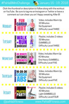 Here we are, cruising into the third week of January already, Killer Bs, and I've got a fabulous new Mini Challenge for you! No matter your fitness level, there's a workout routine tha… 5 Day Workout Plan, Workout Plans, Warm Up Cardio, Best Cardio, You Fitness, Minion, Hiit, Challenges, January 15