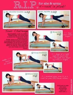 ab and arms; Perform these all together with no more than 5 minutes resting in between each circuit.