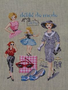 Cross Stitch Art, Cross Stitching, Cross Stitch Embroidery, Victorian Women, Couture, Tuna, Hats For Women, Creations, Kids Rugs
