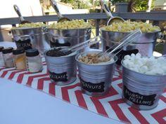 Popcorn Bar Coral Chevron Party in a Box Popcorn Bar Party, Wedding Popcorn Bar, Popcorn Station, Wedding Candy Table, Wedding Snacks, Bar A Bonbon, Coral Chevron, Reception Food, Graduation Party Decor