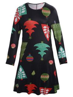Christmas Pattern Printed O-Neck Long Sleeve Mini Dress For Women